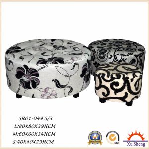 Modern Furniture 3-PC Nesting Wooden Patterned Fabric Ottoman Coffee Table for Living Room pictures & photos