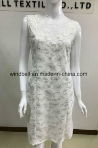 White Elegant Dress for Women with Lace and All-Over Printing pictures & photos