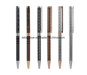 Slim Metal Ball Pen with Customized Laser Logo Carved Designs pictures & photos