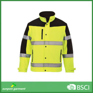 Fluorescent Yellow and Black Softshell Safety Uniform Clothes pictures & photos