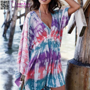 Deep V-Neck Printed Beach Dress L38471 pictures & photos