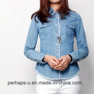 Fashion Wild Slim Ladies Shirt Fringed Denim Jacket pictures & photos