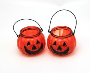 Hot Sale Pumpkin Shape Glass Candle Holders pictures & photos