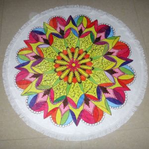 Colourfull Microfiber Printed Round Beach Towel with Tassels