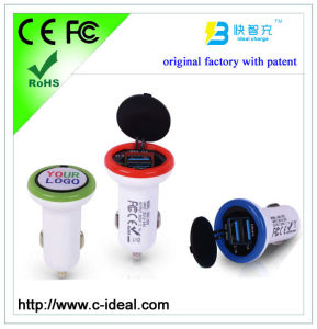 CE, FCC, RoHS Approved2 USB Car Charger with Custom Logo