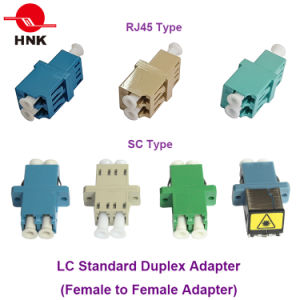 Sc/LC/FC/St/Mu/MTRJ/MPO Simplex/Duplex/Quad Singlemode/Multimode Om3/Om4/APC Standard or Hybrid Fiber Optic Adapter pictures & photos