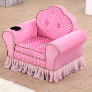 Princess Style Pink Velvet Sectional Sofa pictures & photos