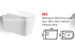 883 Water Closet, Ceramic Washdown Wall Hung Two-Piecetoilet, pictures & photos