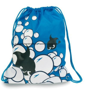 Blue Customized Printed Drawstring Backpack pictures & photos