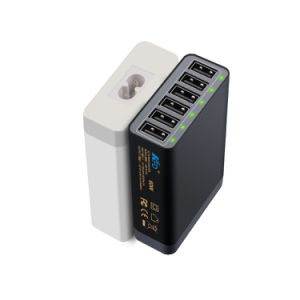 Kfd 60W 6-Port Desktop USB Charger Universal 5V 12A Black with LED pictures & photos