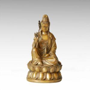 Religion Bronze Sculpture Avalokitesvara/Lotus Guanyin Statue Buddha Tpfx-013