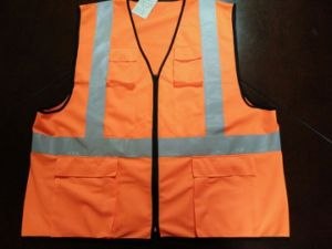 Safety Vest Flu Orange 100%Polyester Knitting Fabric pictures & photos