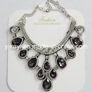 Lady Fashion Jewelry Grey Waterdrop Glass Crystal Pendant Necklace (JE0211-grey) pictures & photos