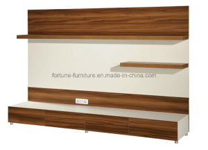 Wooden Walnut & White TV Stand with Hanging Shelf (B201-2.4) pictures & photos