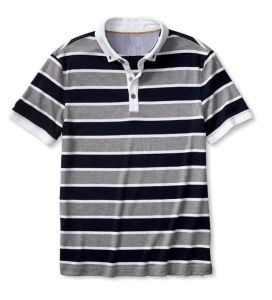Luxe-Touch Striped Button-Collar Polo T-Shirt pictures & photos