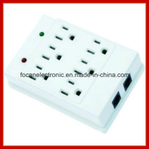 6 Outlets Surge Protected Current Tap with RJ45 Protection pictures & photos
