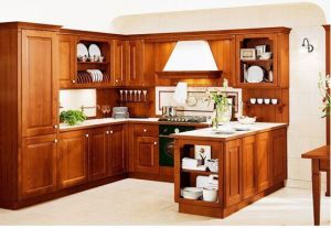 American Style Solid Wood Cherry Kitchen Cabinet (c12) pictures & photos