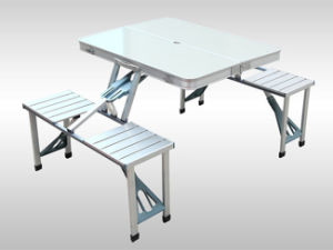 New Portable Aluminium Picnic Folding Table with Umbrella pictures & photos