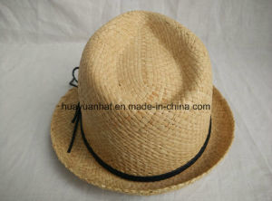 100% Straw Leisurely Style with Natural Color Fedora Hats pictures & photos