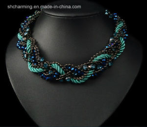 Fashion Jewelry Crystal Pendant Chain/Peacock Blue Necklace
