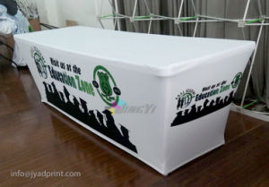 Customized No Wrinkle Spandex Polyester Fabric Fitted Table Skirt pictures & photos