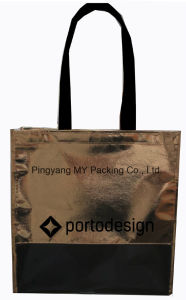 Advertising Gold Laminated PP Non-Woven Shopping Bag Tote Bag pictures & photos