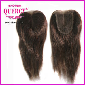 8A Grade Virgin Hair Medium Brown Swiss Lace Color Invisible Middle Part Closure pictures & photos