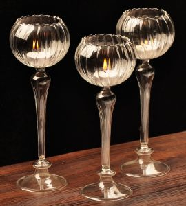High Quality Long Stem Clear Glass Candle Holder for Home pictures & photos