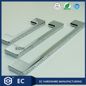 Drawer Diamond Decorated Zinc Alloy Handle for Cupboard