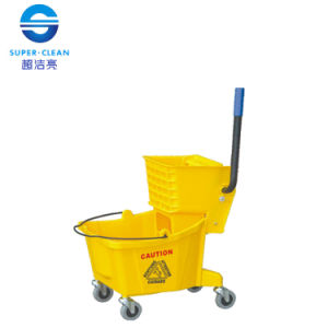 Plastic 32L Single Mop Wringer Trolley Bucket for Home (B-040D) pictures & photos