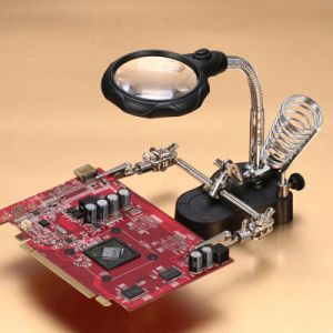 Helping Hand Free 5LED Magnifying Glass Desktop Loupe Soldering Magnifier pictures & photos