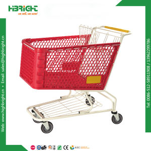 American Market 180L Supermarket Plastic Shopping Trolley Cart pictures & photos