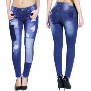 China Fashion Design Women Ripped Skinny Denim Jeans - China Women ...