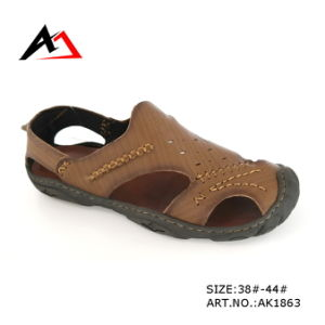 Leather Sandal Shoes Fashion Cheap Slippers for Men (AK1863) pictures & photos