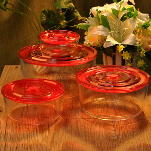 Wholesale 4 of Set Round Borosilicate Glass Bowl Food Container pictures & photos