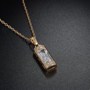 Fashion Gold Retangle Zircon Pendant Necklace Copper Material pictures & photos