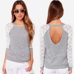 Korean Style Slim Fitting Lace Fashion Ladies T-Shirt (50152) pictures & photos