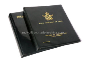 Gold Stamping Black PVC 4-D Ring Binder File Folder with Inner Pocket pictures & photos