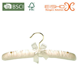 White Color Padded Satin Hanger for Clothes (MR008) pictures & photos
