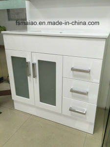 White Gloss MDF Bathroom Vanity with Soft Close and Glass (AB-90B) pictures & photos