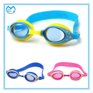 Square PC Mirror Coating Kids Silicone Swimming Goggles pictures & photos