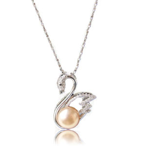 Solid 925 Sterling Silver Chain Necklace with Pearl&CZ Mounted Silver Swan Pendant