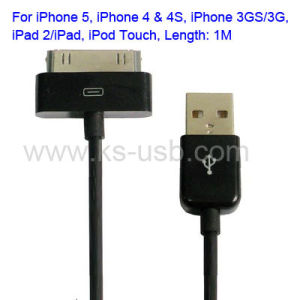 USB Cable for iPhone 4 & 4s, iPhone 3GS/3G, iPad 2/iPad, iPod Touch, Length: 1m (KIP4G-1009)