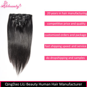 8A Grade Indian Virgin Human Hair Clip in Hair Extensions pictures & photos