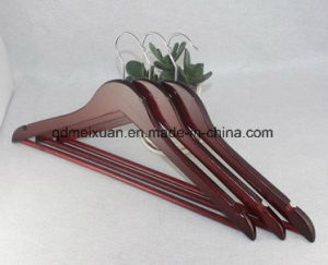 Factory Direct Sale of High-Grade Wooden Hangers Wholesale Wine Red Paint Wooden Hangers Red Suit Hangers Wholesale (M-X3613) pictures & photos