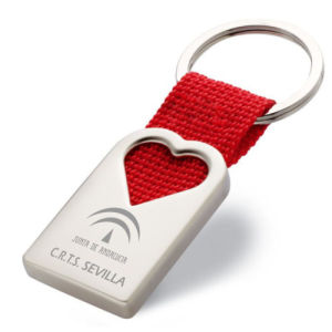 Promotional Gift Low Price Engrave Logo Heart Shape Keyring (F1030)
