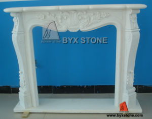 Chinese White Marble Indoor Fireplace with Flower Carving pictures & photos