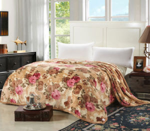 100% Polyester Super Soft Flowers Printed Flannel Blanket