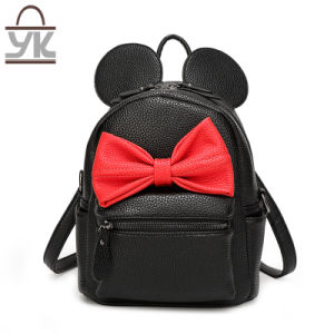 Mickey Style PU Leather Sweet Lady Backpack pictures & photos