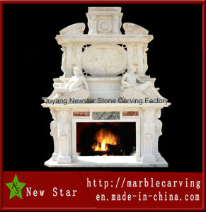 Hand Carved Marble Double Fireplace for Decorative (NS-1226) pictures & photos